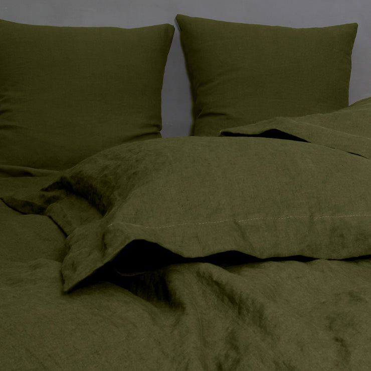 Standard Flanged Pillowcases Green Olive