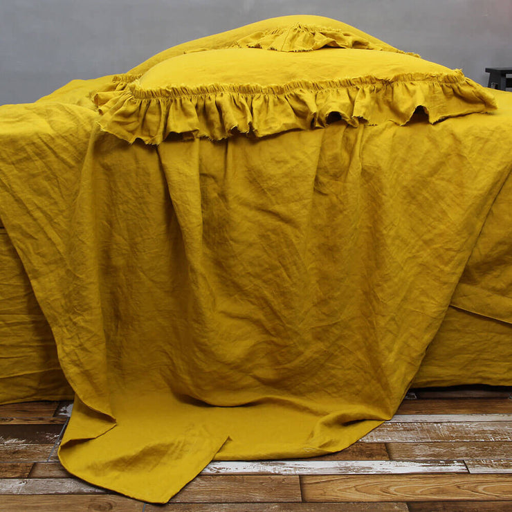 Seamless Linen Flat Sheet in Mustard Color - Linenshed