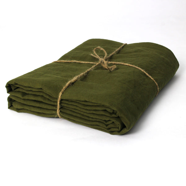 Green Olive Well Folded Flat Linen Sheets - Linenshed