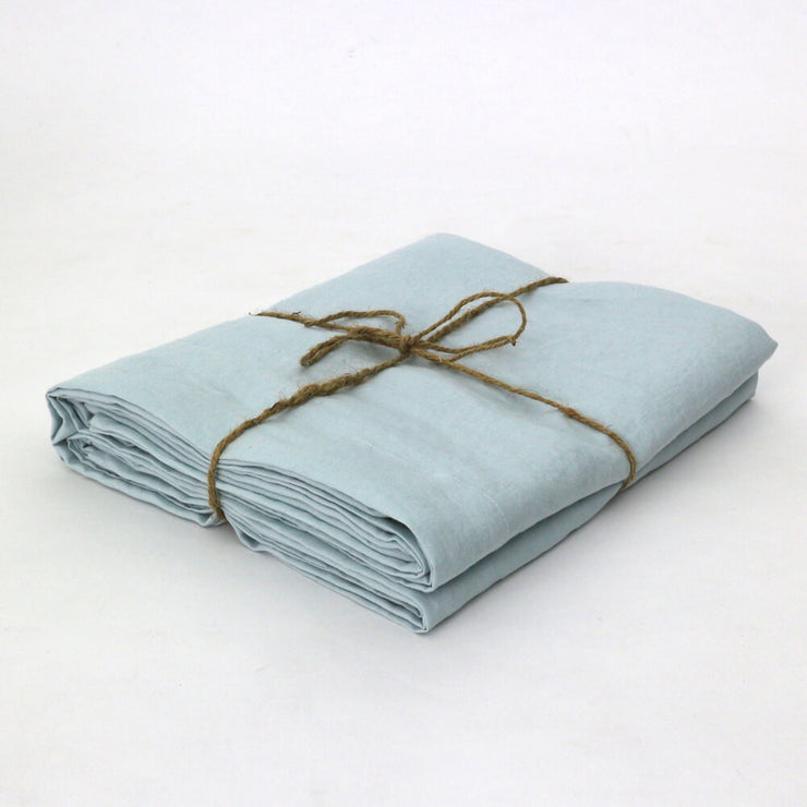 Folded Icy Blue Pure Linen Flat Sheet - Linenshed