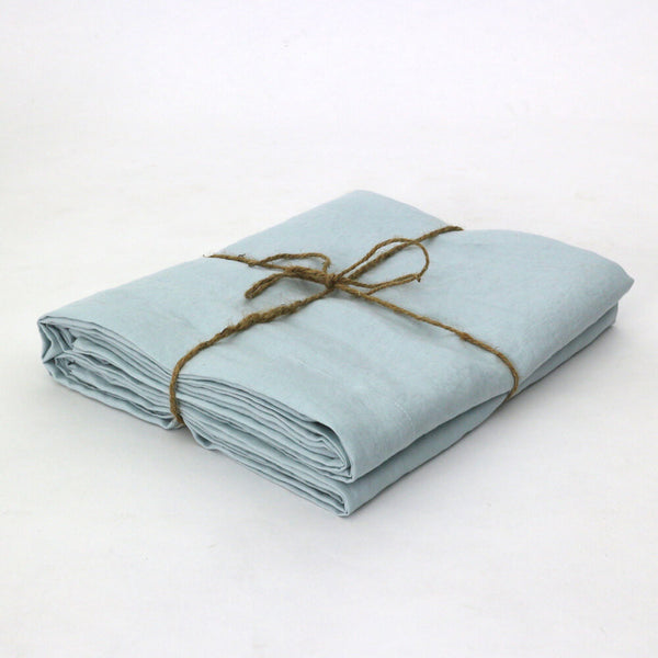 Folded Icy Blue Pure Linen Flat Sheet