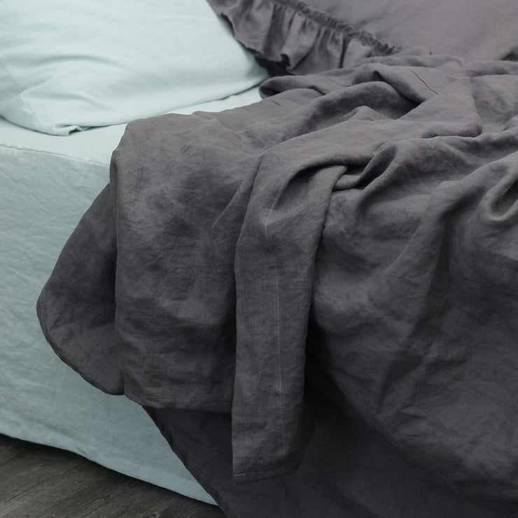 Lead Grey Stonewashed Linen Flat Sheet - Linenshed