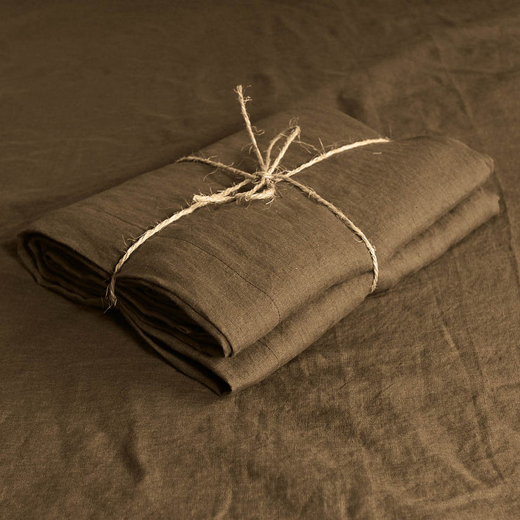 Coffee color wide Linen fabric  - Linenshed