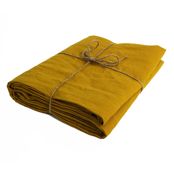Mustard Flat Sheet Well Folded - Linenshed