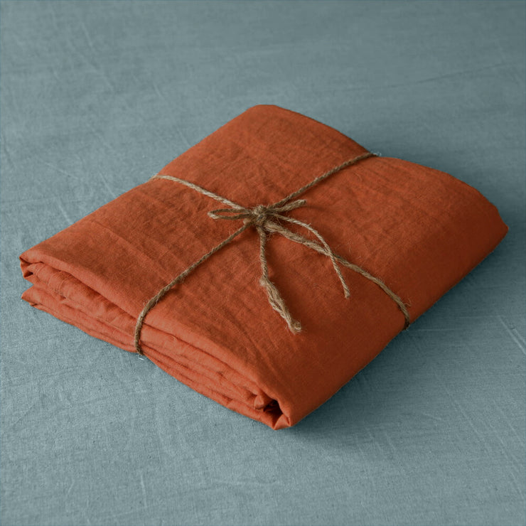 Coral linen fabric by meter