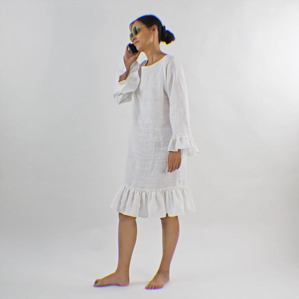 Linen Ruffles Summer Dress