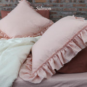 Pure Linen Frayed Edged Pillowcases Salmon