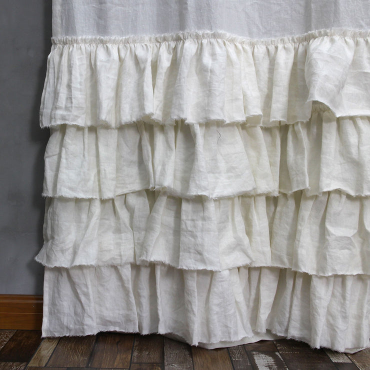 Ruffles Linen Window Curtain with Hand Frayed Edge Closeup