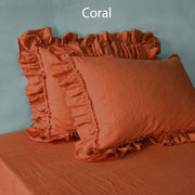 Frayed ruffled pillowcases Coral - Linenshed