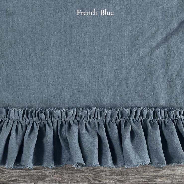 Duvet Cover with Frayed Ruffles French Blue