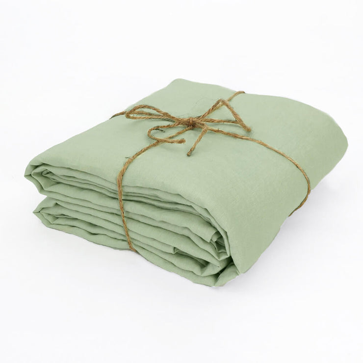 Green Tea Linen Duvet Cover Well Folded