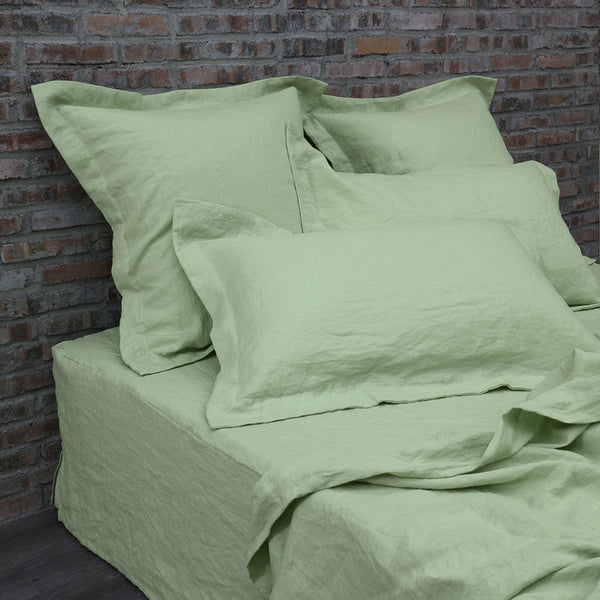 Flanged Linen Pillowcases pair Green Tea