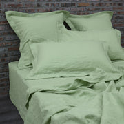 A Pair of Flanged Linen Pillow Shams Green Tea