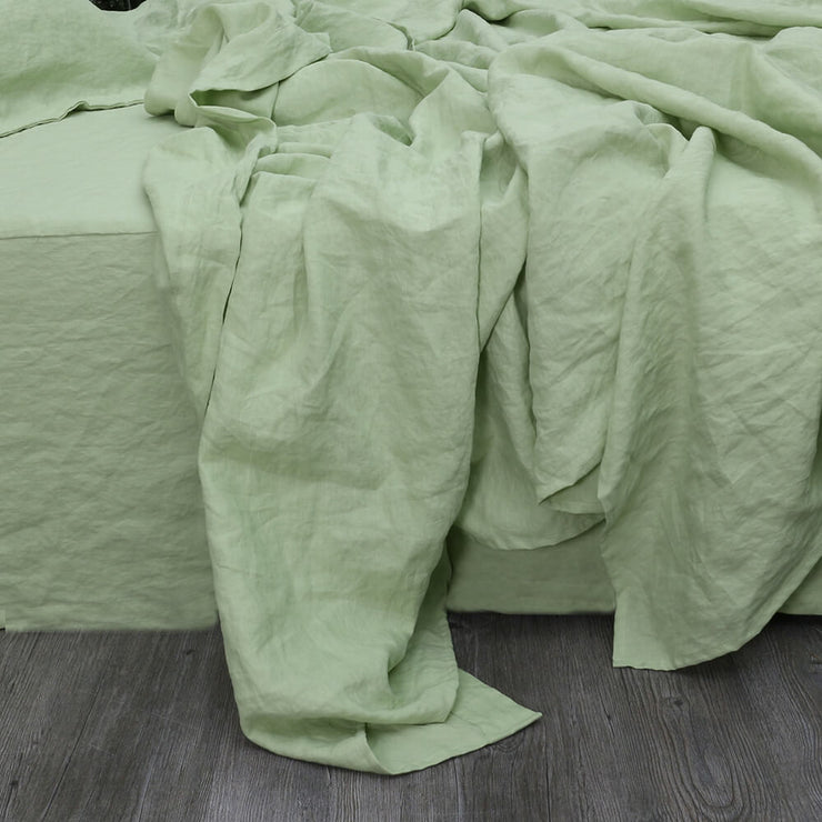 Green Tea Top Sheet in Pure Linen - Linenshed