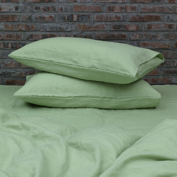 Housewife Linen Pillowcases Green Tea - Linenshed