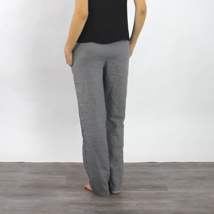 Gray Linen Pant Wide Two Pockets - Linenshed