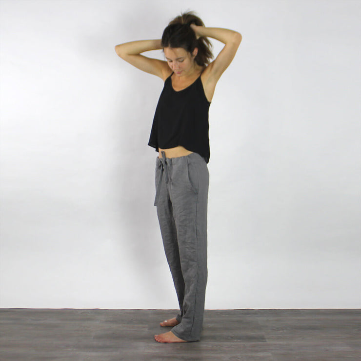 Washed Linen Pencil Trousers for Lady  - Linenshed