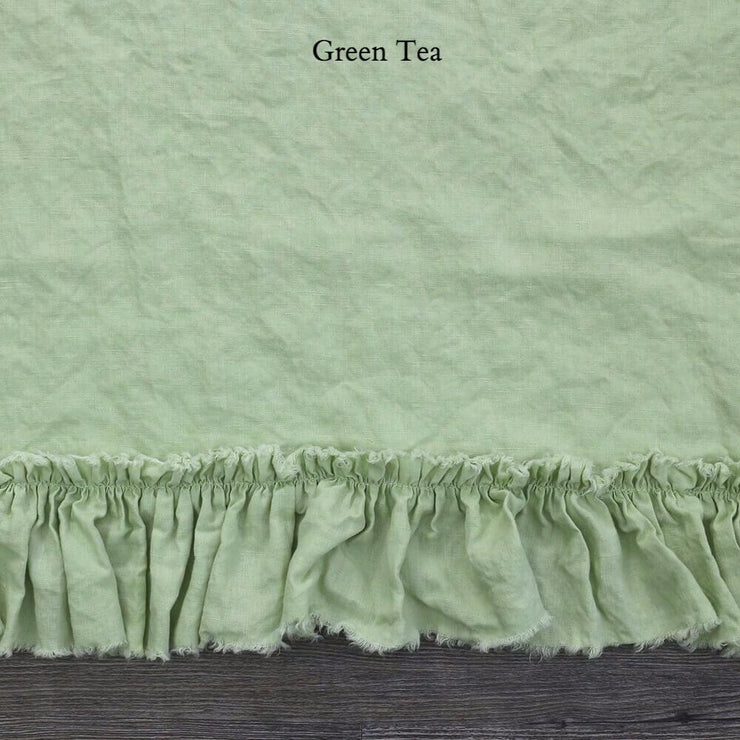 Duvet Cover with Frayed Ruffles Green Tea