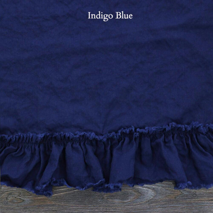 Pure Linen Frayed Edged Pillowcases indigo Blue