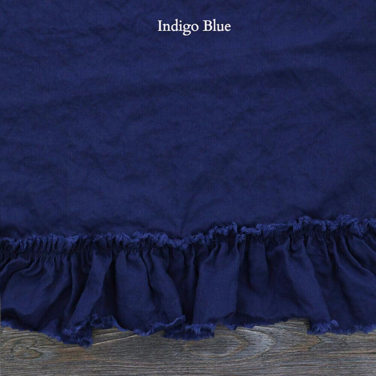 Duvet Cover with Frayed Ruffles Indigo Blue