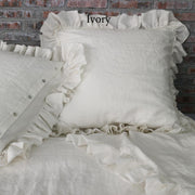 Pure Linen Frayed Edged Pillowcases Ivory