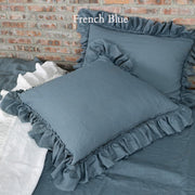 Pure Linen Frayed Edged Pillowcases French Blue