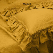 Pure Linen Frayed Edged Pillowcases Mustard