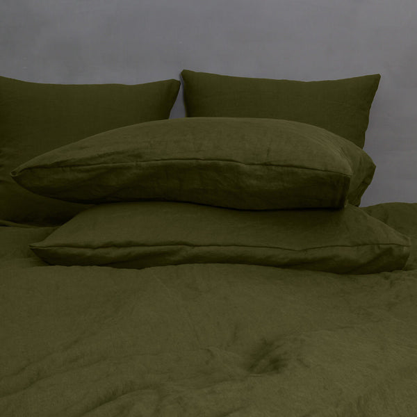 Soft Washed Linen Plain Pillowcases (set of 2) Green Olive
