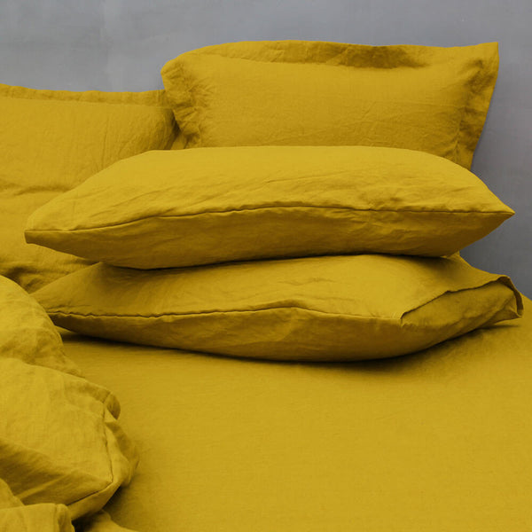 Housewife Linen Pillowcases Pair Curry