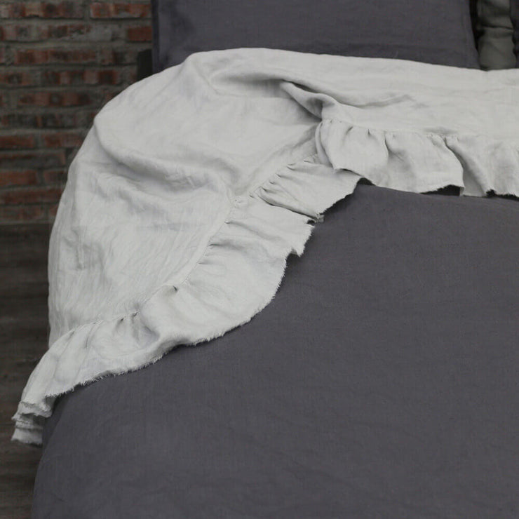 Hand Frayed Two Tones Ruffles Bedspread-2