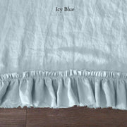Pure Linen Frayed Edged Pillowcases Icy Blue