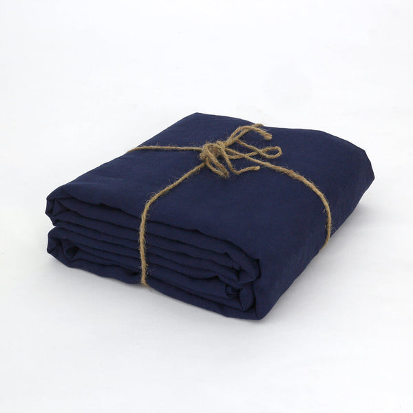 100% Linen Fabric by the meter in Indigo Blue color