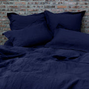 Flanged Linen Pillowcases pair Indigo Blue