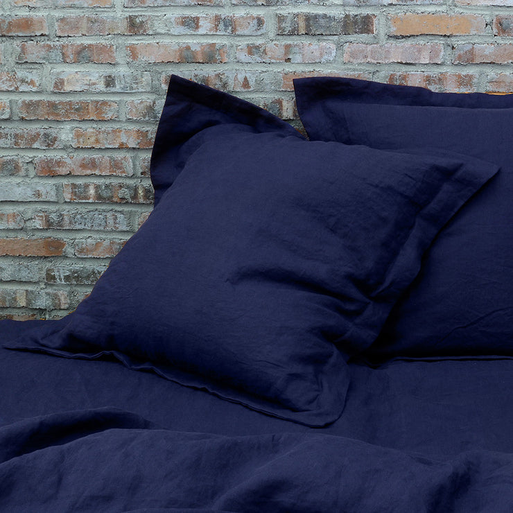 A Pair of Flanged Linen Pillow Shams Indigo Blue