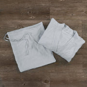 Free Size Kimono Bathrobe Stone Grey Folded with its Pouch