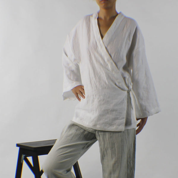 Ladies Linen Wrap Top-01 Linenshed