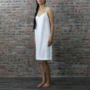 Side View Of The Long Linen Nightie