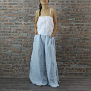 Blue Linen Palazzo Pants with White Linen Slip Top