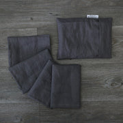 Linen plain Table Napkins With Pouch Lead Gray