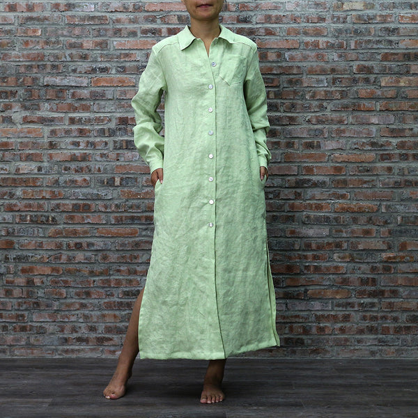 Linen Long Shirt Buttoned-down Green Tea