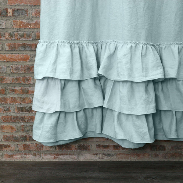 High Quality Closeup Ruffled Shower Linen Curtain In Icy Blue ...