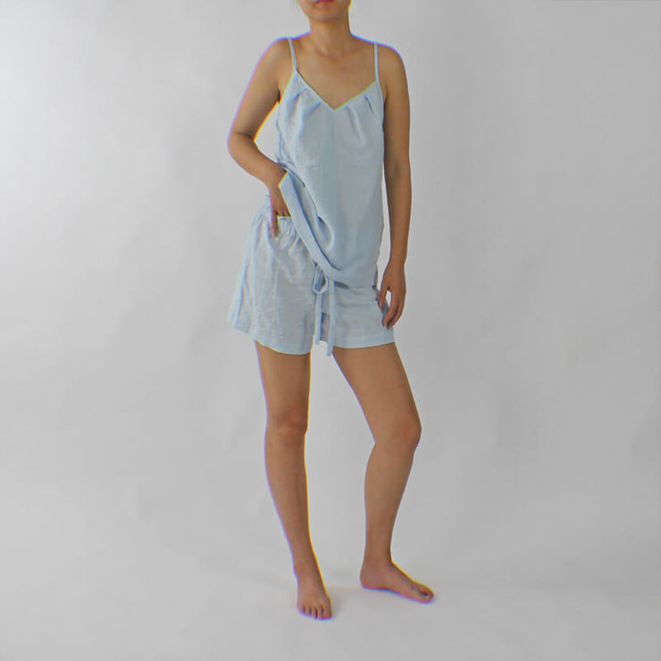 Top Style Linen Nightie With Drawstring Linen Boxer Shorts