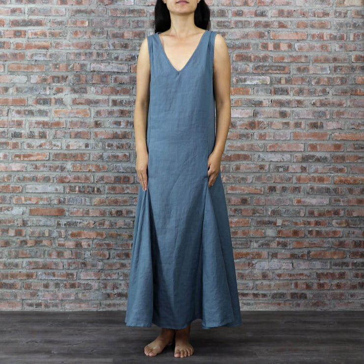 V Neck Sleeveless Long Linen Dress
