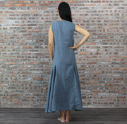 Detail Back Of Linen Dress French Blue