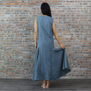 Ankled Length Linen Flatter Dress