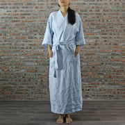 Ankle Length Linen Bathrobe For Mens and Women Icy Blue