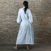 Back Detail Of Linen kimono Style Bathrobe icy Blue