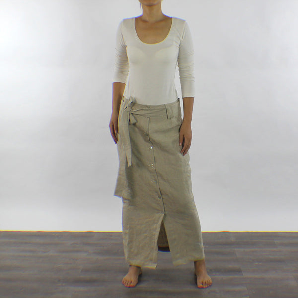 Linen Straight-cut Long Skirt with Front Split - Linenshed