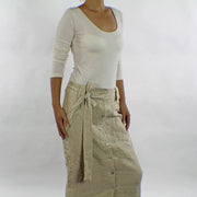 Belted Linen Long Skirt - Linenshed