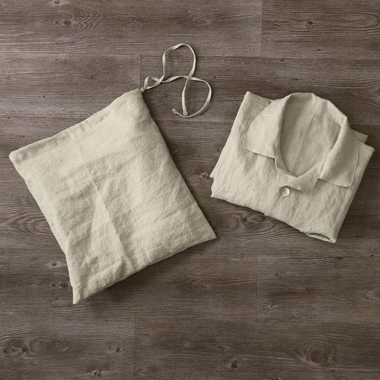 Linen Pouch For Mens Pajamas Set Natural